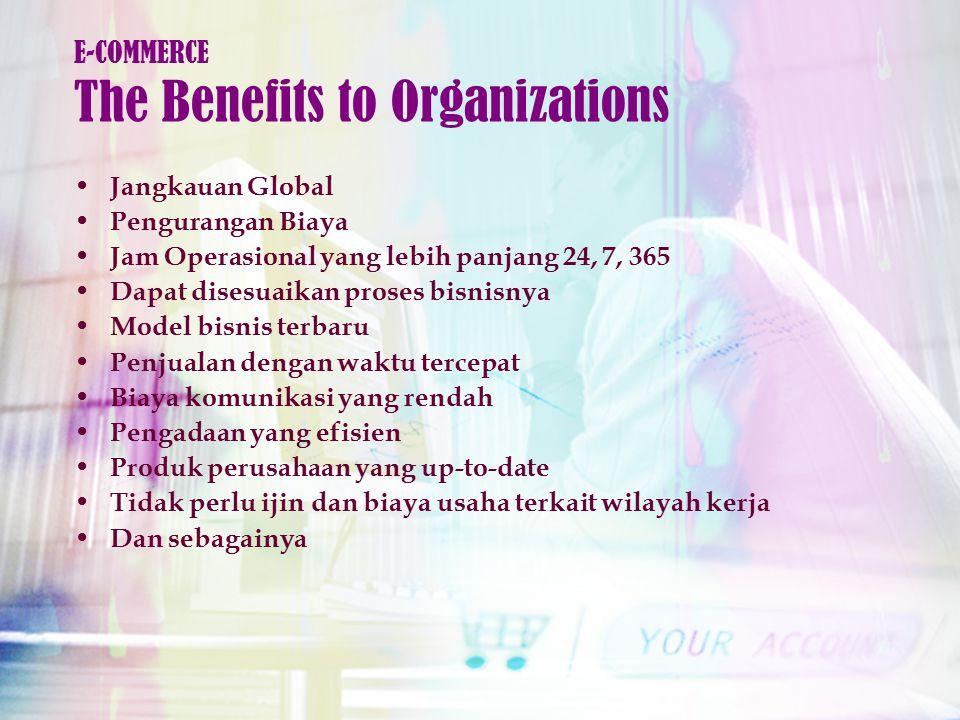 Jangkauan Global Pengurangan Biaya Jam Operasional yang lebih panjang 24, 7, 365 Dapat disesuaikan proses bisnisnya Model bisnis terbaru Penjualan dengan waktu tercepat Biaya komunikasi yang rendah Pengadaan yang efisien Produk perusahaan yang up-to-date Tidak perlu ijin dan biaya usaha terkait wilayah kerja Dan sebagainya E-COMMERCE The Benefits to Organizations