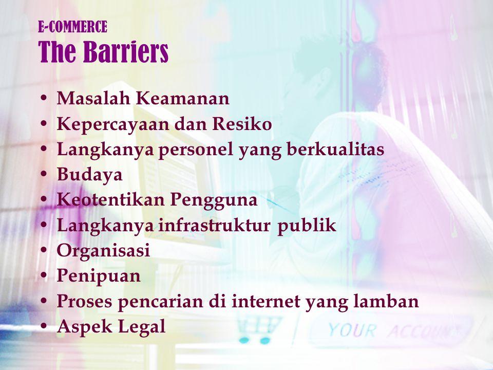 Masalah Keamanan Kepercayaan dan Resiko Langkanya personel yang berkualitas Budaya Keotentikan Pengguna Langkanya infrastruktur publik Organisasi Penipuan Proses pencarian di internet yang lamban Aspek Legal E-COMMERCE The Barriers