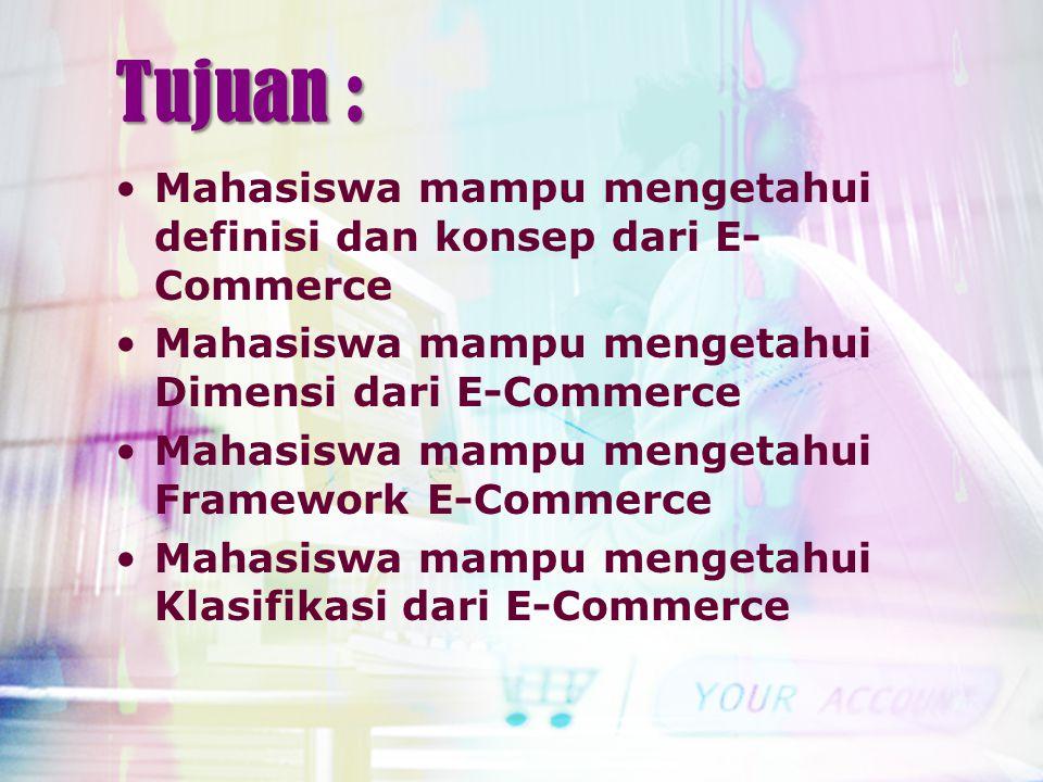 Tujuan : Mahasiswa mampu mengetahui definisi dan konsep dari E- Commerce Mahasiswa mampu mengetahui Dimensi dari E-Commerce Mahasiswa mampu mengetahui Framework E-Commerce Mahasiswa mampu mengetahui Klasifikasi dari E-Commerce