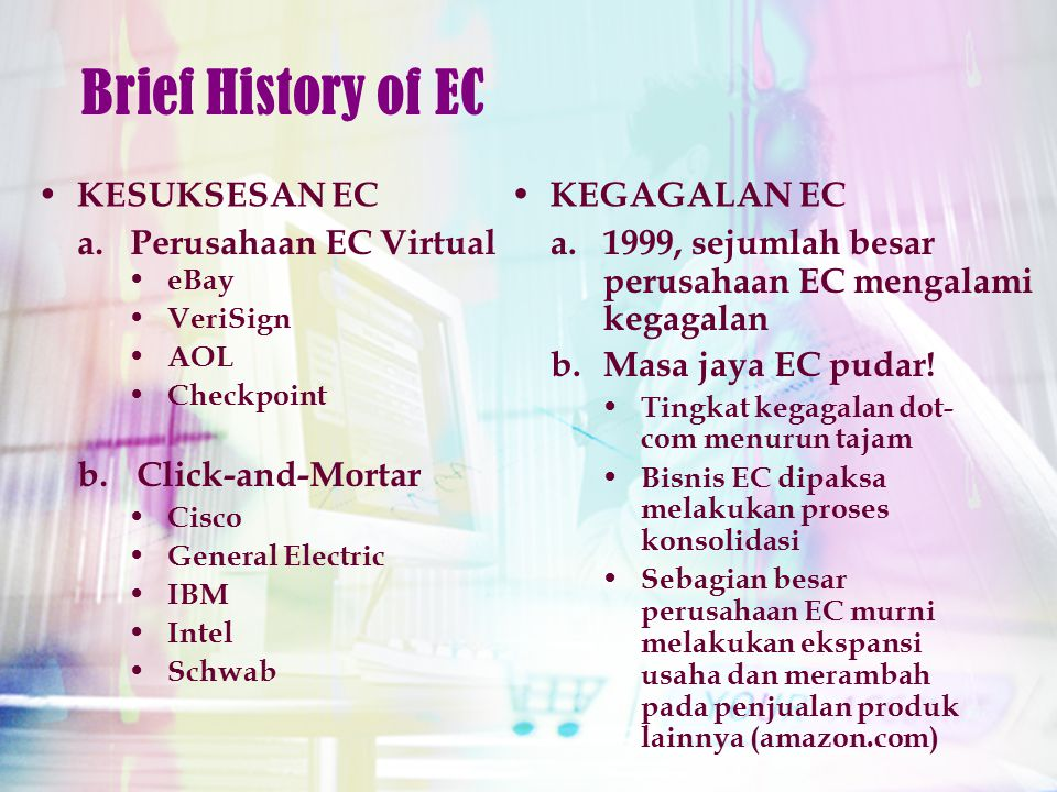 KESUKSESAN EC Brief History of EC Cisco General Electric IBM Intel Schwab a.Perusahaan EC Virtual b.Click-and-Mortar eBay VeriSign AOL Checkpoint KEGA