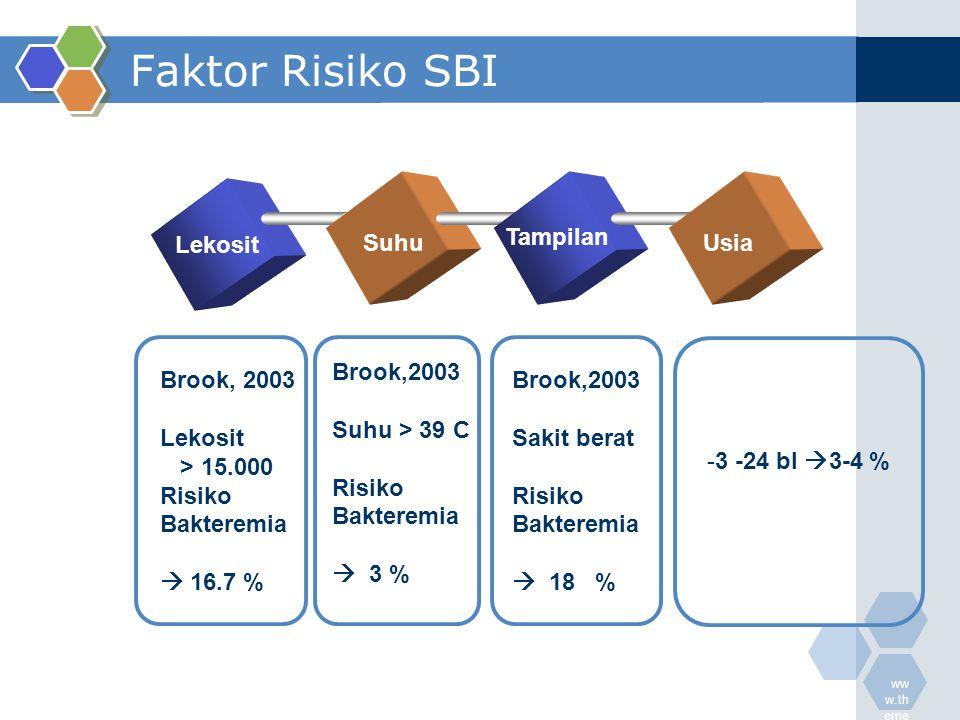 ww w.th eme galle ry.c om Faktor Risiko SBI Lekosit Suhu Tampilan Usia Brook, 2003 Lekosit > 15.000 Risiko Bakteremia  16.7 % Brook,2003 Suhu > 39 C