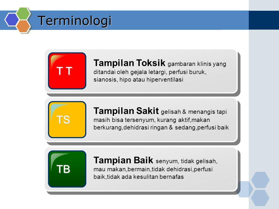 Terminologi T T Tampilan Toksik gambaran klinis yang ditandai oleh gejala letargi, perfusi buruk, sianosis, hipo atau hiperventilasi TS Tampilan Sakit