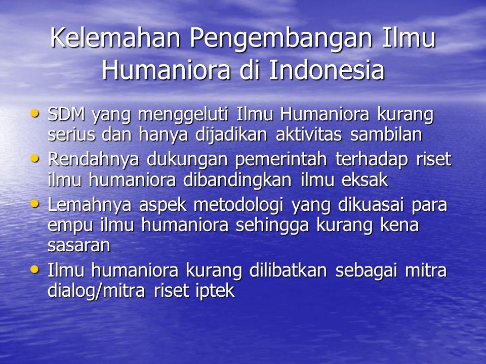 Kelemahan Pengembangan Ilmu Humaniora di Indonesia SDM yang menggeluti Ilmu Humaniora kurang serius dan hanya dijadikan aktivitas sambilan SDM yang me