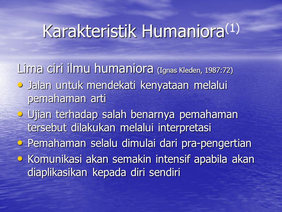 Karakteristik Humaniora Karakteristik Humaniora (1) Lima ciri ilmu humaniora (Ignas Kleden, 1987:72) Jalan untuk mendekati kenyataan melalui pemahaman