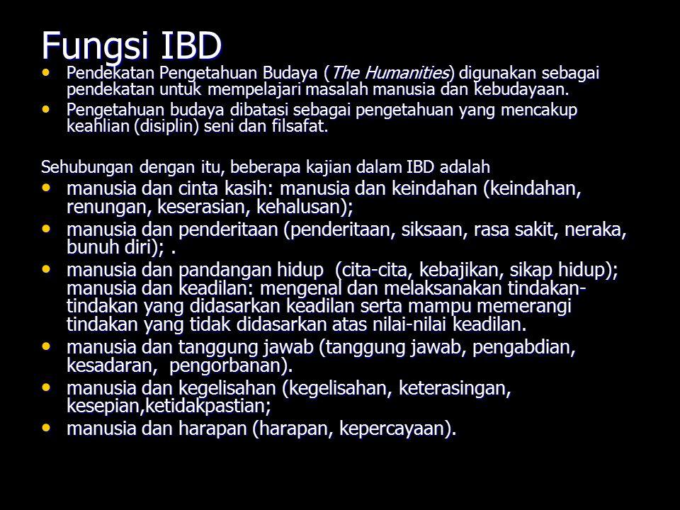 Fungsi IBD Pendekatan Pengetahuan Budaya (The Humanities) digunakan sebagai pendekatan untuk mempelajari masalah manusia dan kebudayaan. Pendekatan Pe