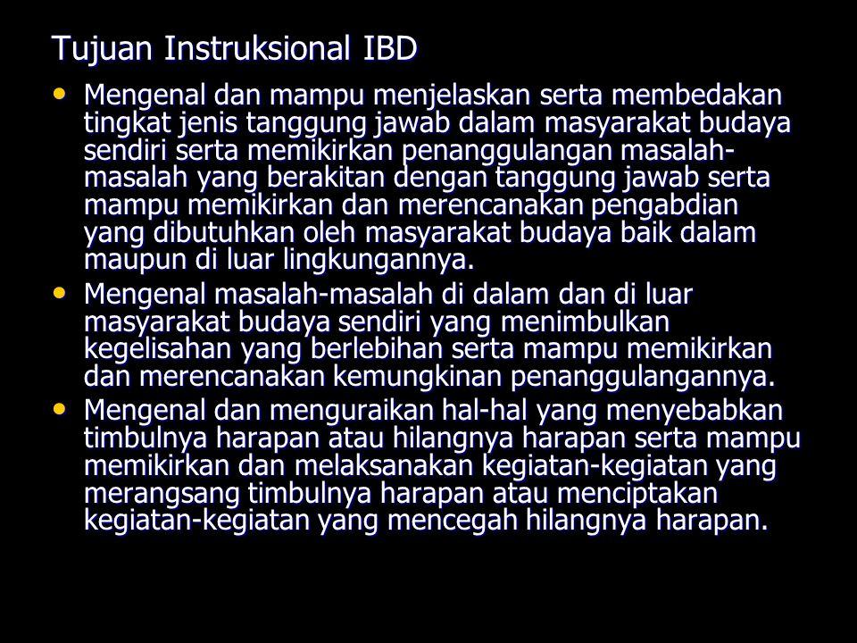 Tujuan Instruksional IBD Mengenal dan mampu menjelaskan serta membedakan tingkat jenis tanggung jawab dalam masyarakat budaya sendiri serta memikirkan