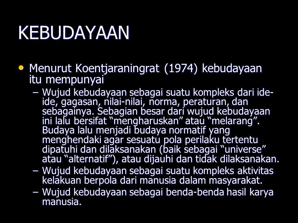 KEBUDAYAAN Menurut Koentjaraningrat (1974) kebudayaan itu mempunyai Menurut Koentjaraningrat (1974) kebudayaan itu mempunyai –Wujud kebudayaan sebagai