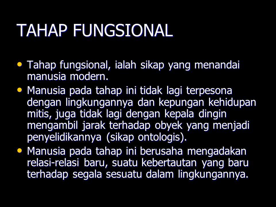 TAHAP FUNGSIONAL Tahap fungsional, ialah sikap yang menandai manusia modern. Tahap fungsional, ialah sikap yang menandai manusia modern. Manusia pada
