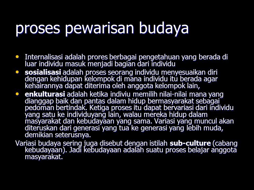 proses pewarisan budaya Internalisasi adalah prores berbagai pengetahuan yang berada di luar individu masuk menjadi bagian dari individu Internalisasi