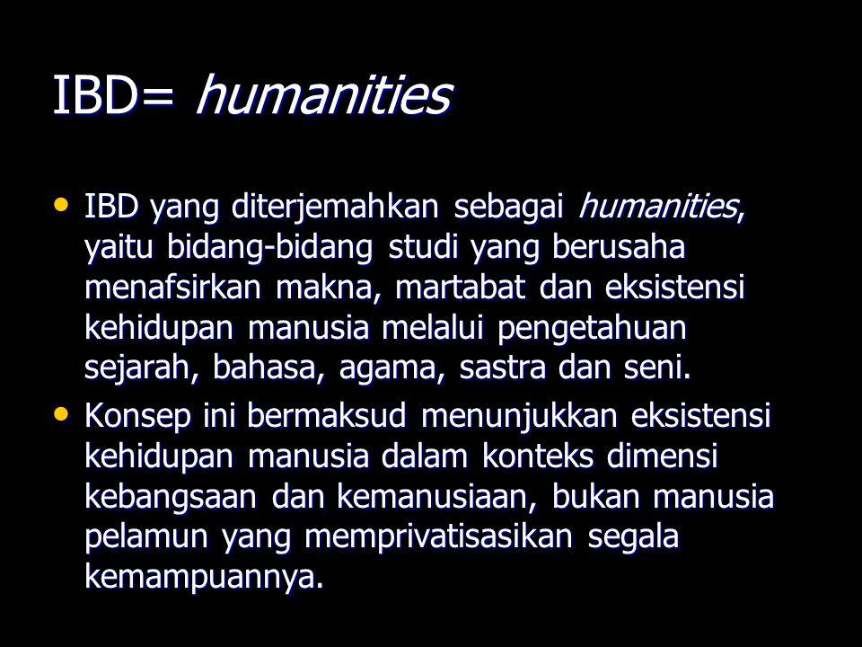 IBD= humanities IBD yang diterjemahkan sebagai humanities, yaitu bidang-bidang studi yang berusaha menafsirkan makna, martabat dan eksistensi kehidupa