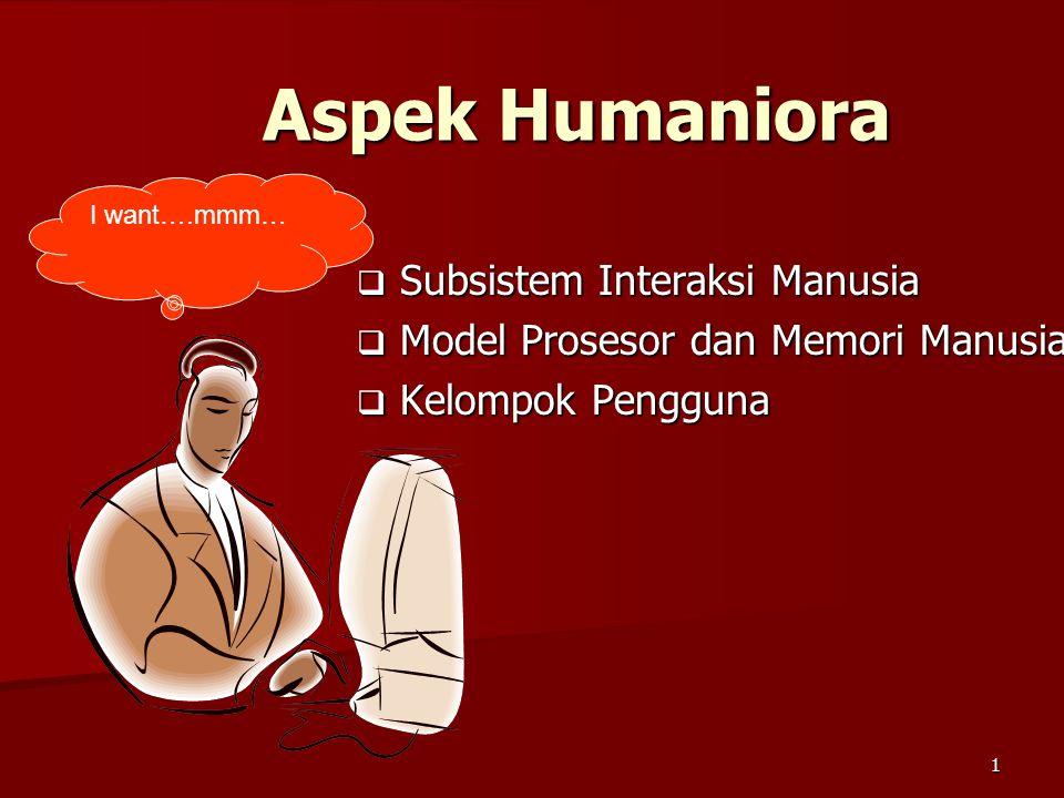 1 Aspek Humaniora  Subsistem Interaksi Manusia  Model Prosesor dan Memori Manusia  Kelompok Pengguna I want….mmm…