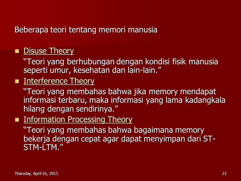 Thursday, April 16, 2015Thursday, April 16, 2015Thursday, April 16, 2015Thursday, April 16, 201522 Beberapa teori tentang memori manusia Disuse Theory