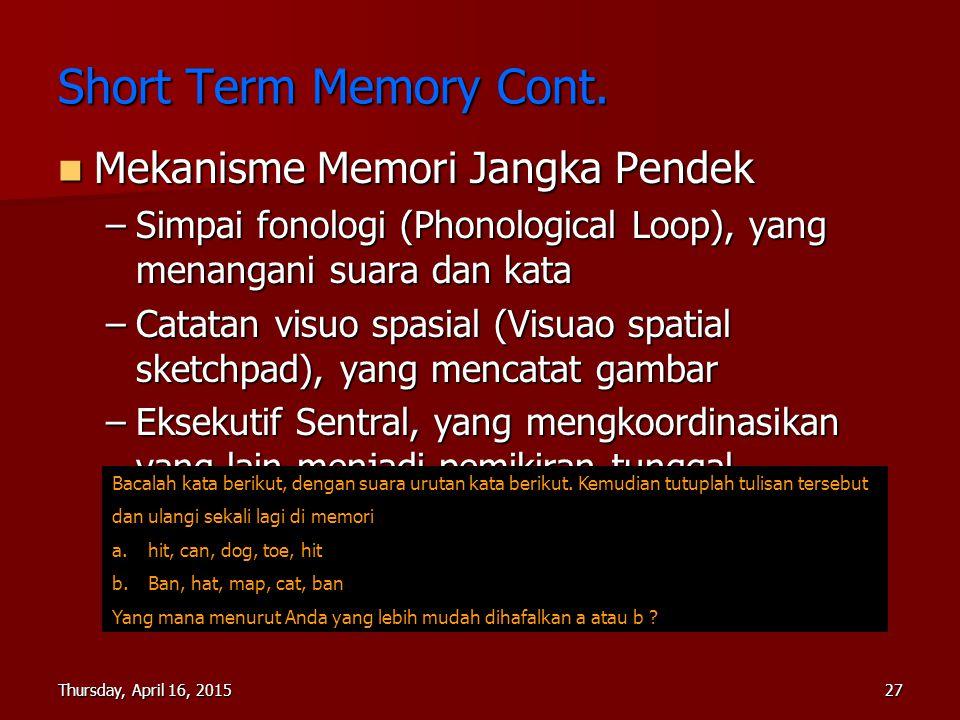 Thursday, April 16, 2015Thursday, April 16, 2015Thursday, April 16, 2015Thursday, April 16, 201527 Mekanisme Memori Jangka Pendek Mekanisme Memori Jan