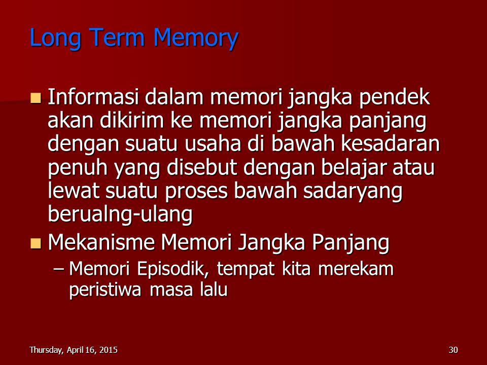Thursday, April 16, 2015Thursday, April 16, 2015Thursday, April 16, 2015Thursday, April 16, 201530 Long Term Memory Informasi dalam memori jangka pend