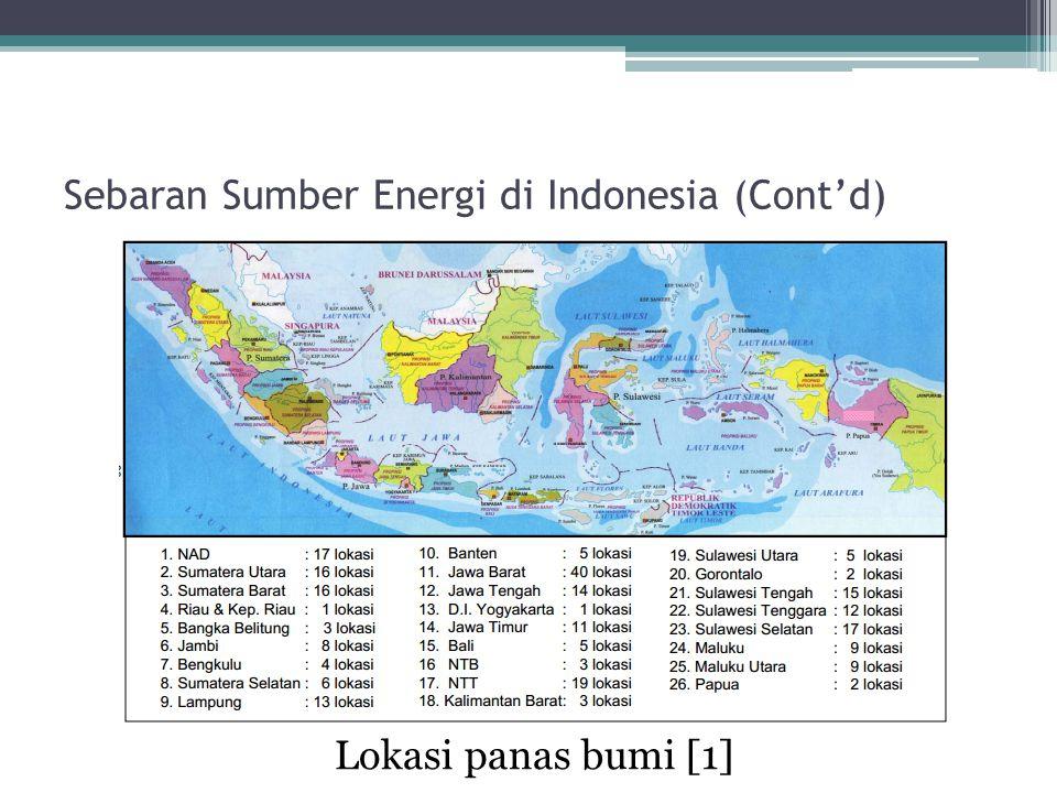 Sebaran Sumber Energi di Indonesia (Cont'd) Lokasi panas bumi [1]