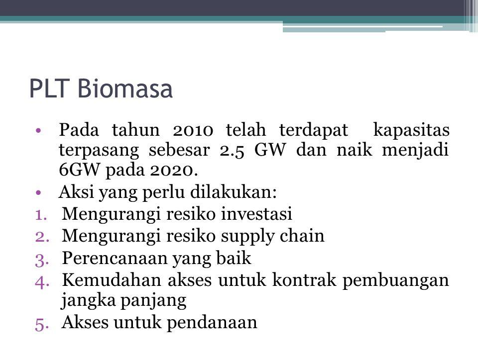 PLT Biomasa Pada tahun 2010 telah terdapat kapasitas terpasang sebesar 2.5 GW dan naik menjadi 6GW pada 2020. Aksi yang perlu dilakukan: 1.Mengurangi
