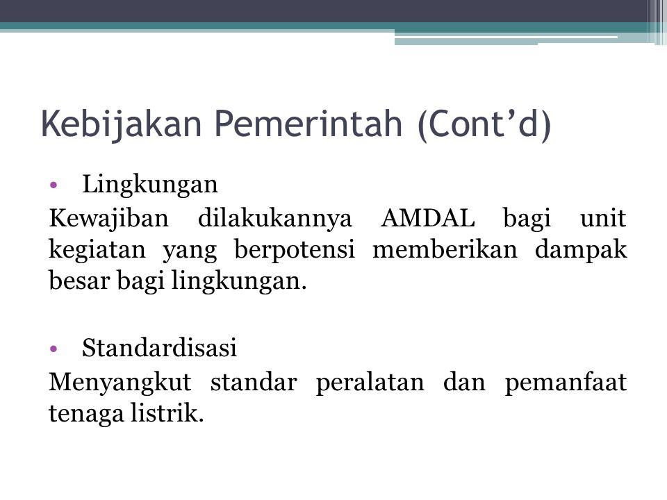 Kebijakan Pemerintah (Cont'd) Lingkungan Kewajiban dilakukannya AMDAL bagi unit kegiatan yang berpotensi memberikan dampak besar bagi lingkungan. Stan