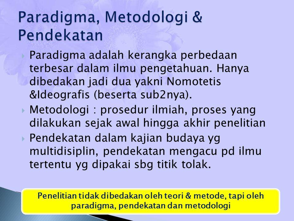  Paradigma adalah kerangka perbedaan terbesar dalam ilmu pengetahuan. Hanya dibedakan jadi dua yakni Nomotetis &Ideografis (beserta sub2nya).  Metod