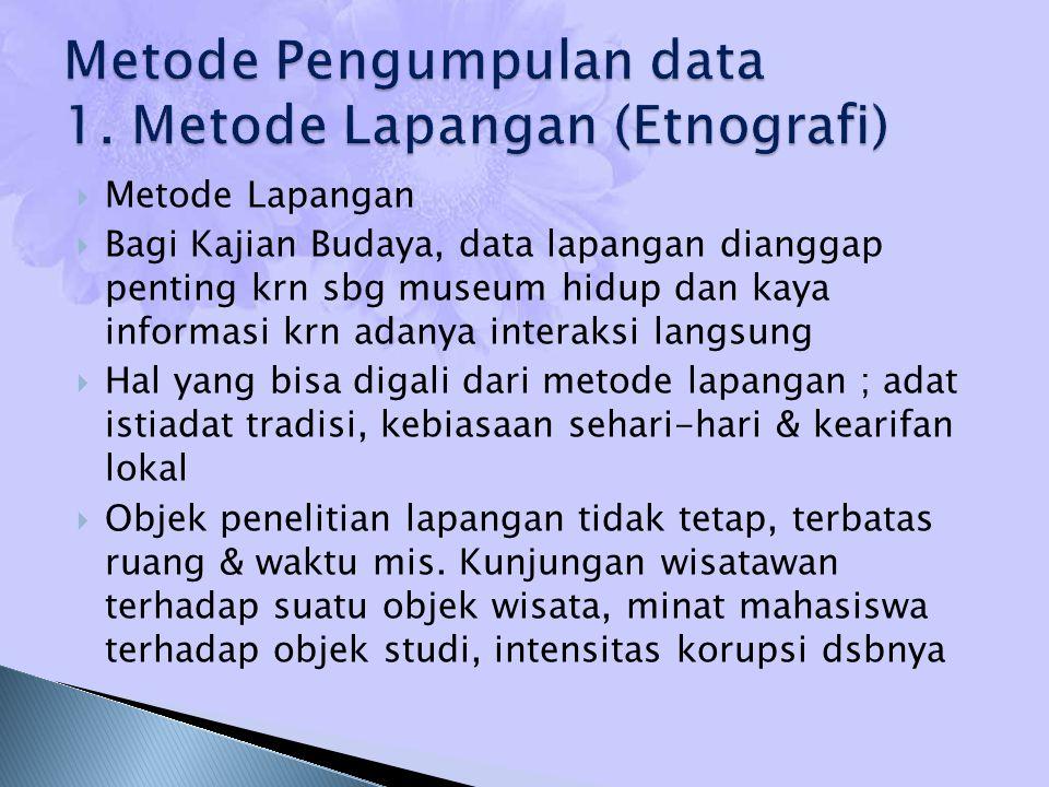  Metode Lapangan  Bagi Kajian Budaya, data lapangan dianggap penting krn sbg museum hidup dan kaya informasi krn adanya interaksi langsung  Hal yan