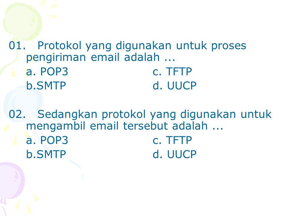 01.Protokol yang digunakan untuk proses pengiriman email adalah... a. POP3c. TFTP b.SMTPd. UUCP 02.Sedangkan protokol yang digunakan untuk mengambil e