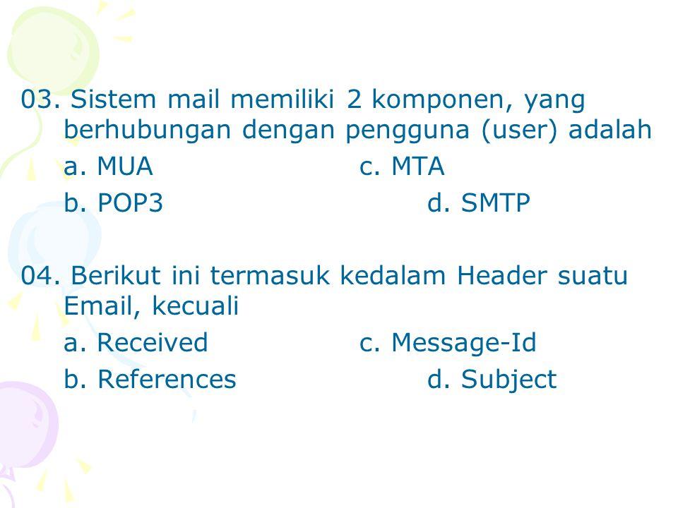 03. Sistem mail memiliki 2 komponen, yang berhubungan dengan pengguna (user) adalah a. MUAc. MTA b. POP3d. SMTP 04. Berikut ini termasuk kedalam Heade