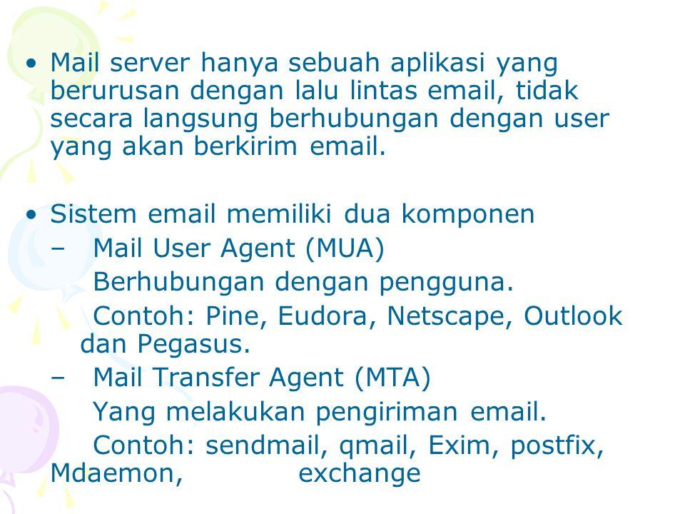 Mail server hanya sebuah aplikasi yang berurusan dengan lalu lintas email, tidak secara langsung berhubungan dengan user yang akan berkirim email. Sis