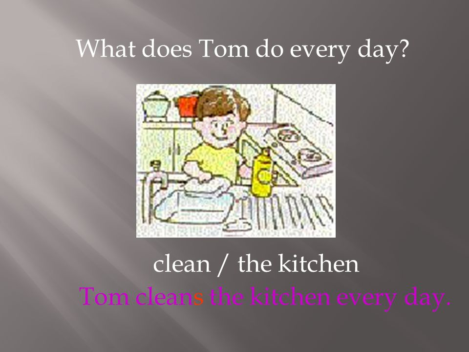 clean / the kitchen What does Tom do every day? Tom cleans the kitchen every day.