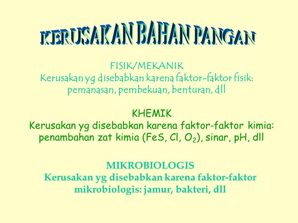 FISIK/MEKANIK Kerusakan yg disebabkan karena faktor-faktor fisik: pemanasan, pembekuan, benturan, dll KHEMIK Kerusakan yg disebabkan karena faktor-faktor kimia: penambahan zat kimia (FeS, Cl, O 2 ), sinar, pH, dll MIKROBIOLOGIS Kerusakan yg disebabkan karena faktor-faktor mikrobiologis: jamur, bakteri, dll
