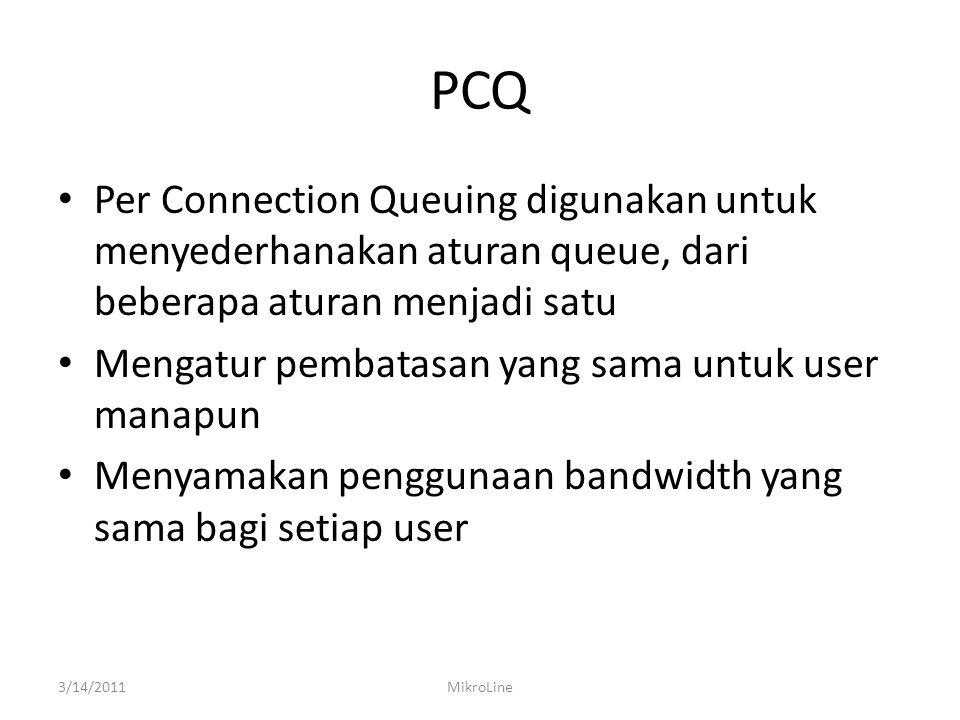 PCQ Per Connection Queuing digunakan untuk menyederhanakan aturan queue, dari beberapa aturan menjadi satu Mengatur pembatasan yang sama untuk user manapun Menyamakan penggunaan bandwidth yang sama bagi setiap user 3/14/2011MikroLine