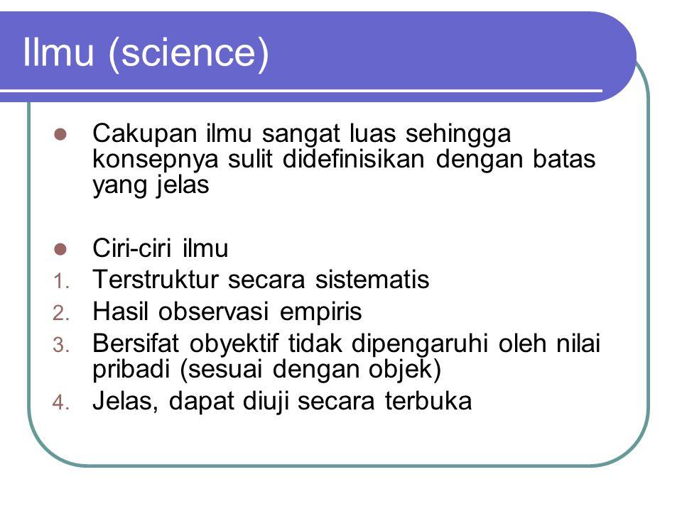 Ilmu (science) Cakupan ilmu sangat luas sehingga konsepnya sulit didefinisikan dengan batas yang jelas Ciri-ciri ilmu 1. Terstruktur secara sistematis