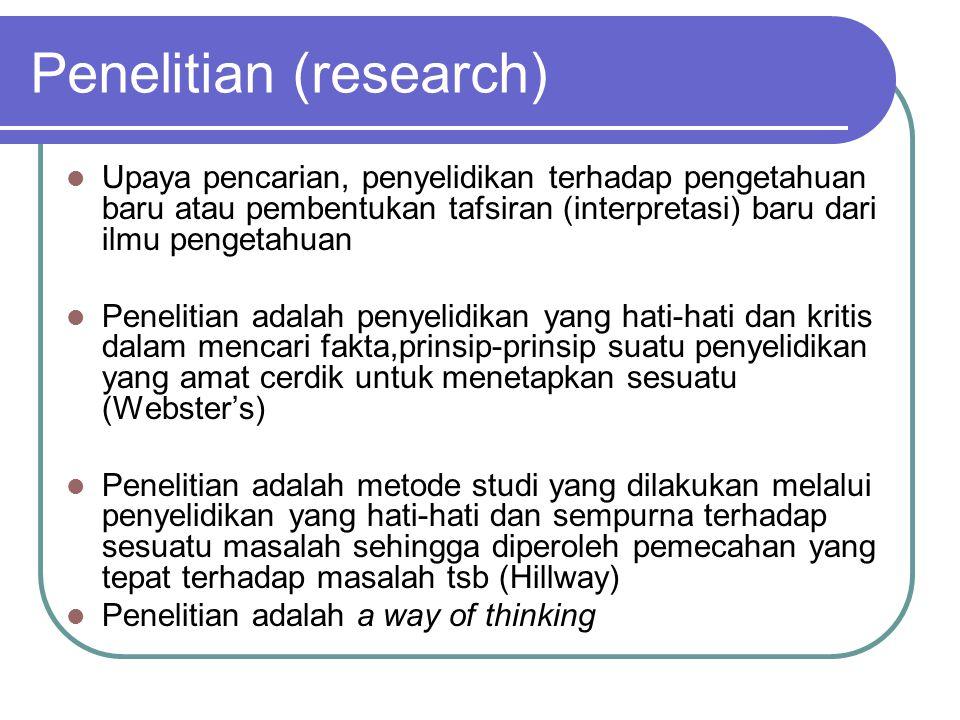 Penelitian (research) Upaya pencarian, penyelidikan terhadap pengetahuan baru atau pembentukan tafsiran (interpretasi) baru dari ilmu pengetahuan Pene