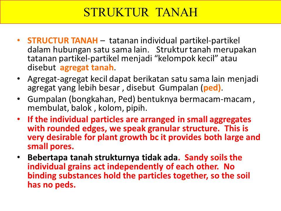 "STRUCTUR TANAH – tatanan individual partikel-partikel dalam hubungan satu sama lain. Struktur tanah merupakan tatanan partikel-partikel menjadi ""kelom"