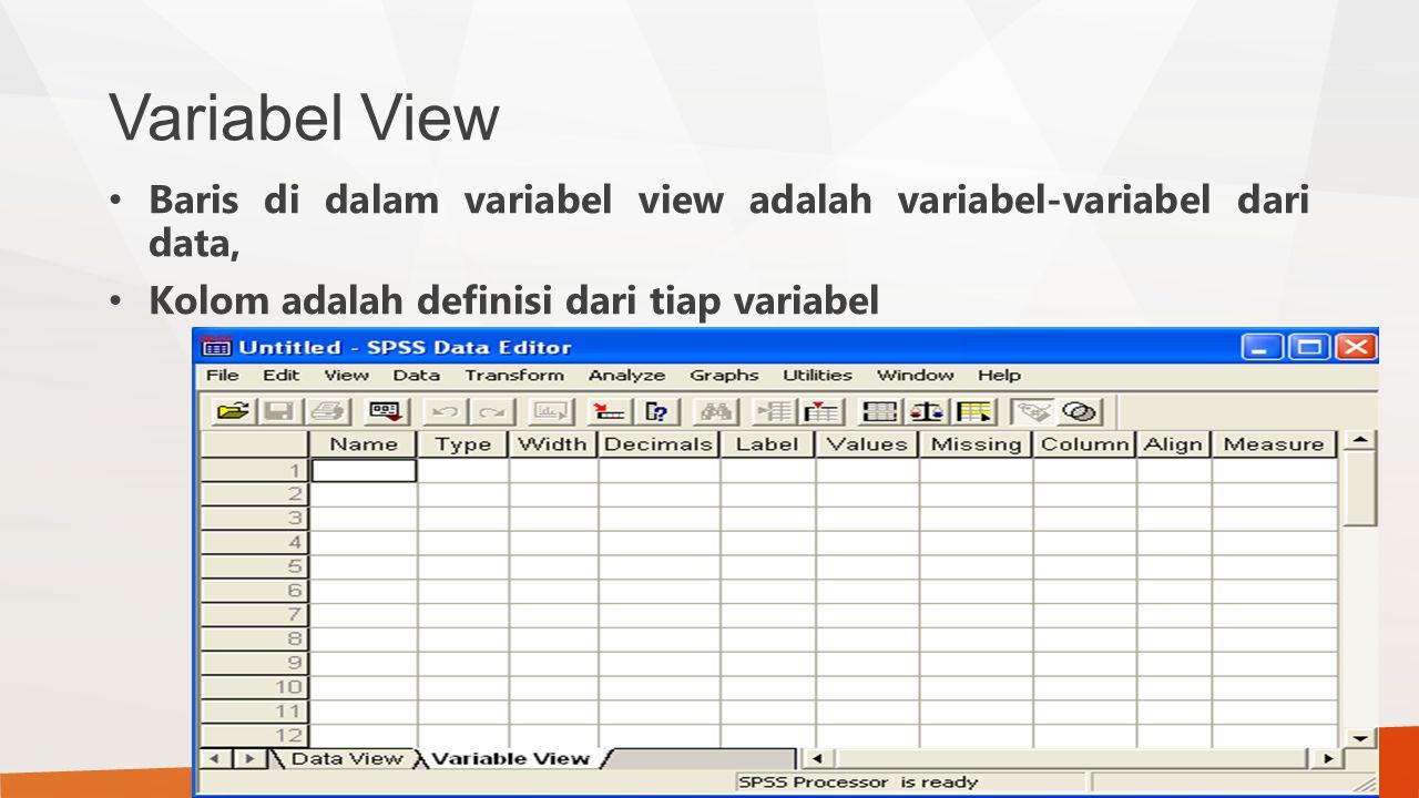 Variabel View Baris di dalam variabel view adalah variabel-variabel dari data, Kolom adalah definisi dari tiap variabel