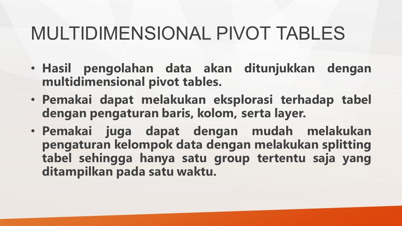 MULTIDIMENSIONAL PIVOT TABLES Hasil pengolahan data akan ditunjukkan dengan multidimensional pivot tables. Pemakai dapat melakukan eksplorasi terhadap