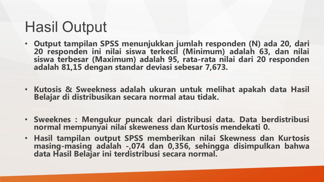 Hasil Output Output tampilan SPSS menunjukkan jumlah responden (N) ada 20, dari 20 responden ini nilai siswa terkecil (Minimum) adalah 63, dan nilai siswa terbesar (Maximum) adalah 95, rata-rata nilai dari 20 responden adalah 81,15 dengan standar deviasi sebesar 7,673.