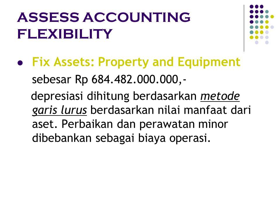 ASSESS ACCOUNTING FLEXIBILITY Fix Assets: Property and Equipment sebesar Rp 684.482.000.000,- depresiasi dihitung berdasarkan metode garis lurus berda