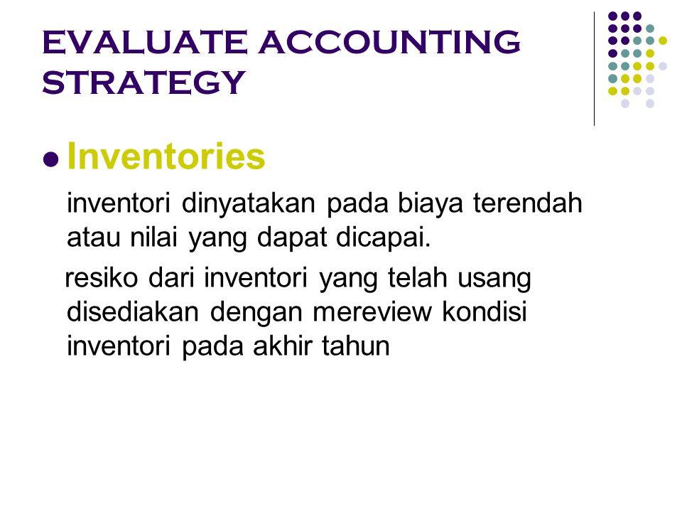 EVALUATE THE QUALITY OF DISCLOSURE Kebijakan dan Asumsi Akuntansi Pengungkapan strategi bisnis: Kondisi industri; Posisi persaingan; Rencana manajemen.
