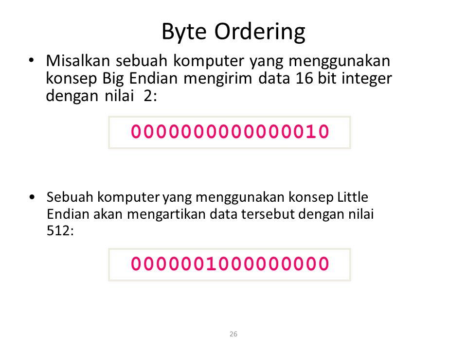26 Byte Ordering Misalkan sebuah komputer yang menggunakan konsep Big Endian mengirim data 16 bit integer dengan nilai 2: 0000000000000010 00000010000