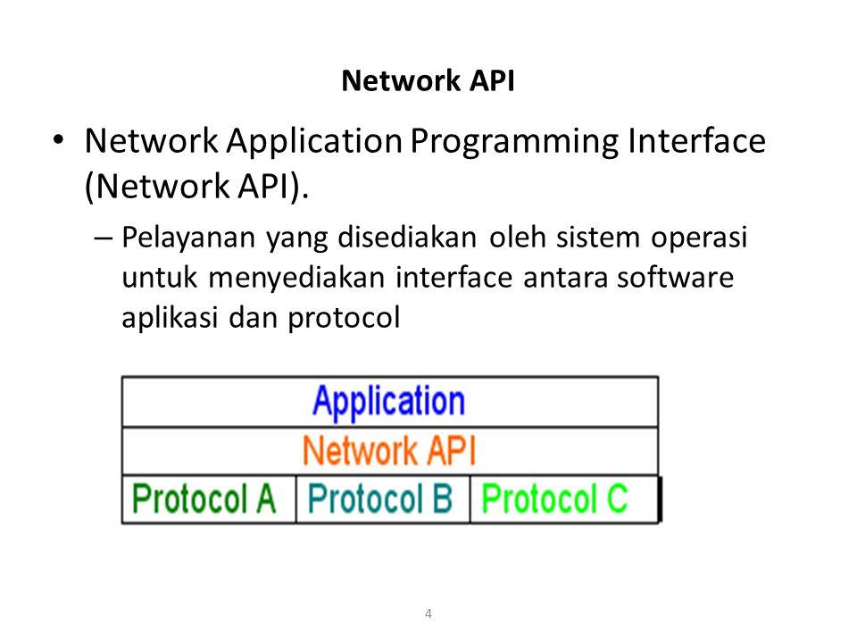 4 Network API Network Application Programming Interface (Network API). – Pelayanan yang disediakan oleh sistem operasi untuk menyediakan interface ant
