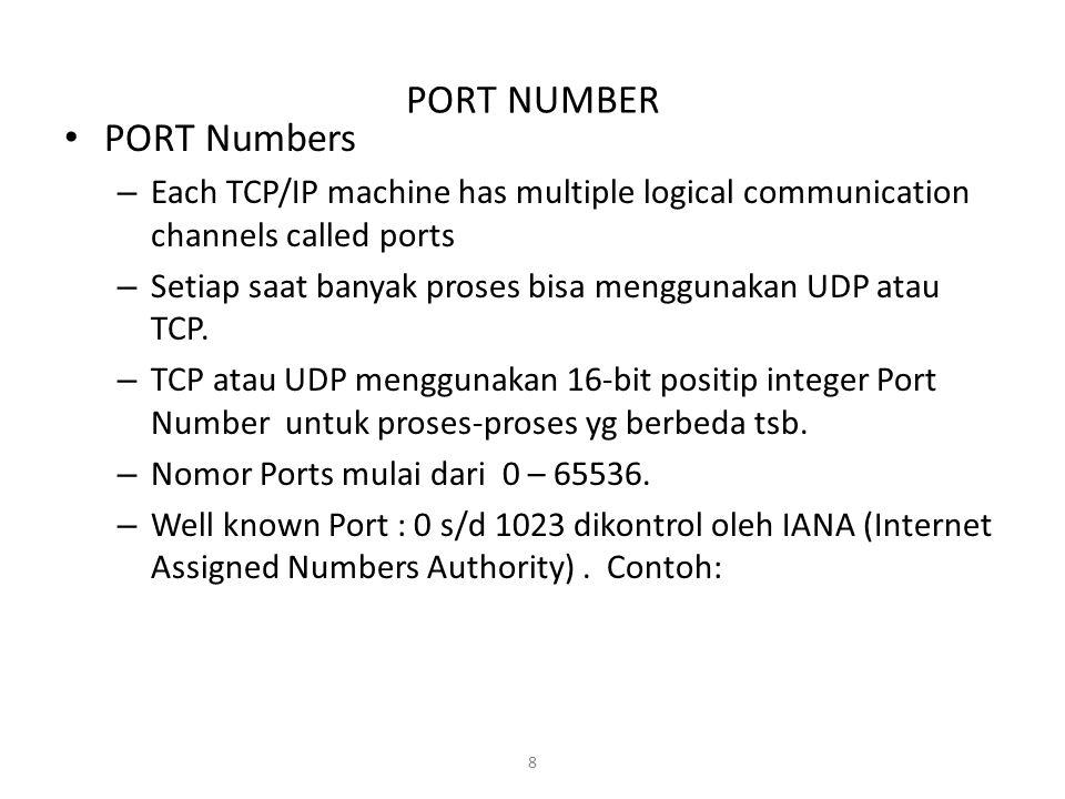 8 PORT NUMBER PORT Numbers – Each TCP/IP machine has multiple logical communication channels called ports – Setiap saat banyak proses bisa menggunakan