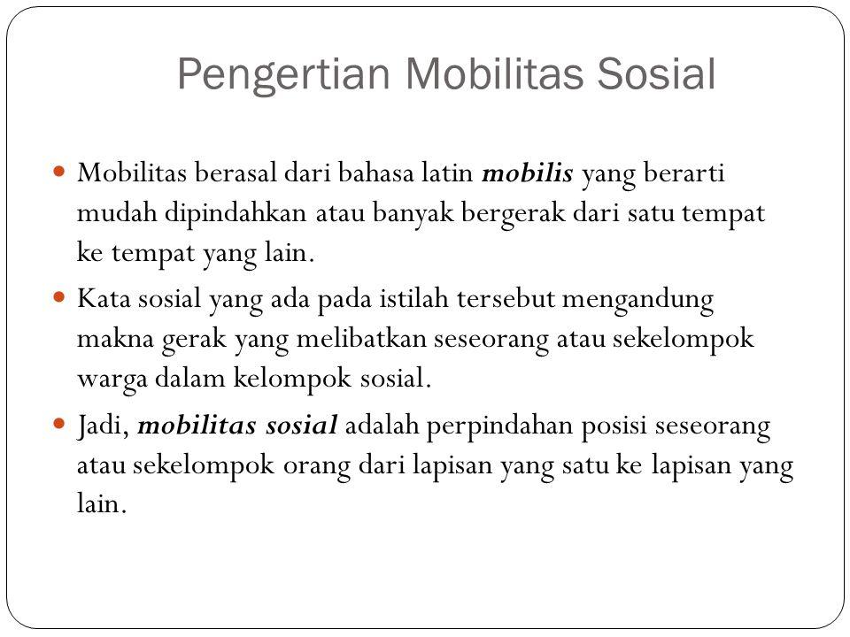 Pengertian Mobilitas Sosial Mobilitas berasal dari bahasa latin mobilis yang berarti mudah dipindahkan atau banyak bergerak dari satu tempat ke tempat