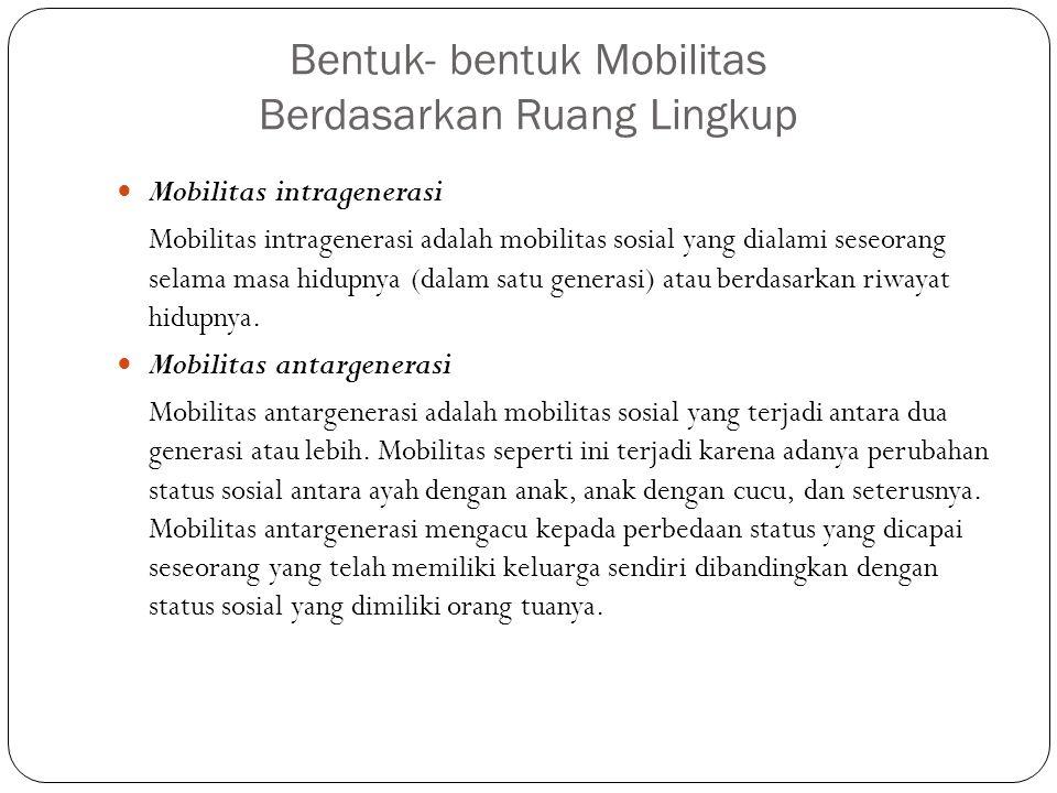 Bentuk- bentuk Mobilitas Berdasarkan Ruang Lingkup Mobilitas intragenerasi Mobilitas intragenerasi adalah mobilitas sosial yang dialami seseorang sela