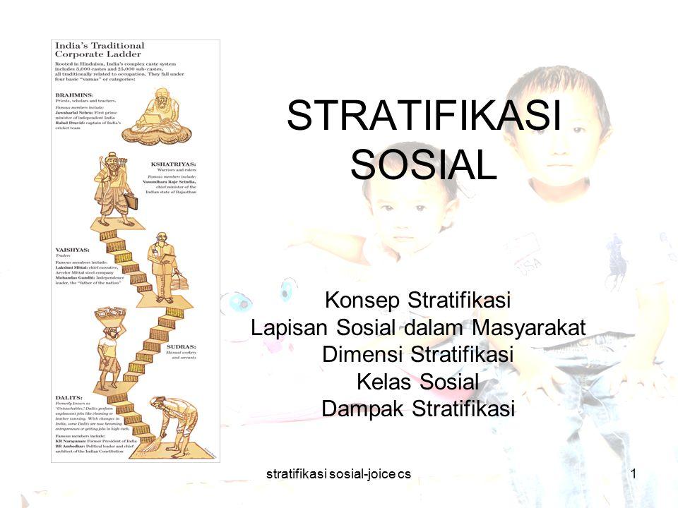 stratifikasi sosial-joice cs12 Mobilitas Sosial Dua sifat:  Stratifikasi Terbuka: setiap anggota mempunyai kesempatan untuk berusaha dengan kecakapan sendiri untuk naik strata, atau sebaliknya.
