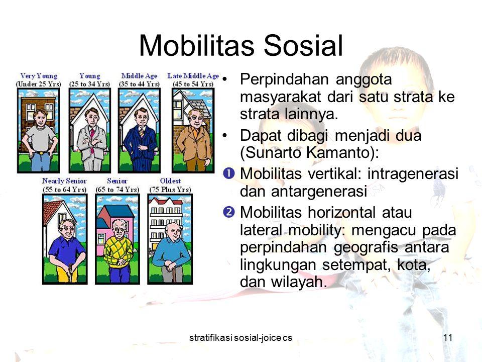 stratifikasi sosial-joice cs11 Mobilitas Sosial Perpindahan anggota masyarakat dari satu strata ke strata lainnya. Dapat dibagi menjadi dua (Sunarto K