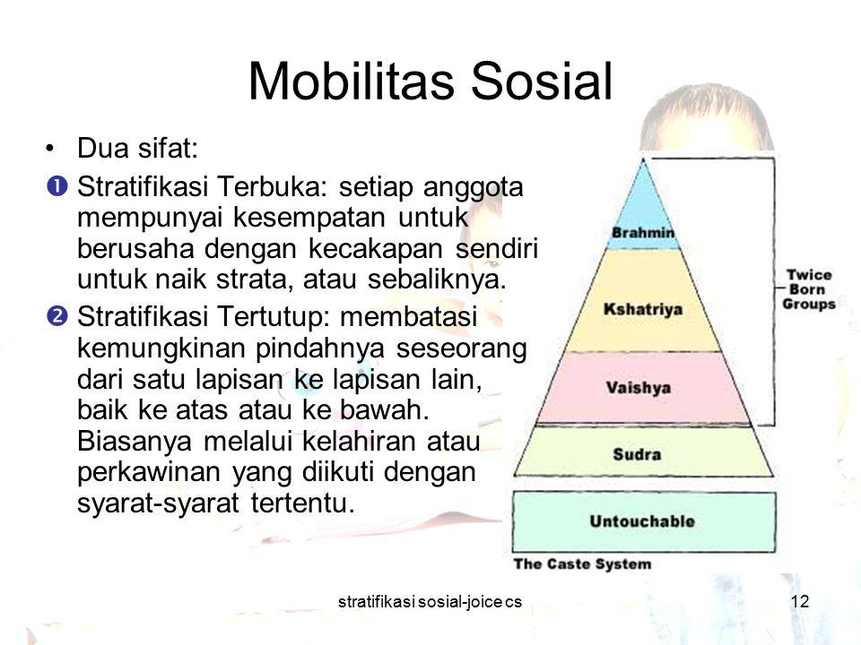 stratifikasi sosial-joice cs12 Mobilitas Sosial Dua sifat:  Stratifikasi Terbuka: setiap anggota mempunyai kesempatan untuk berusaha dengan kecakapan