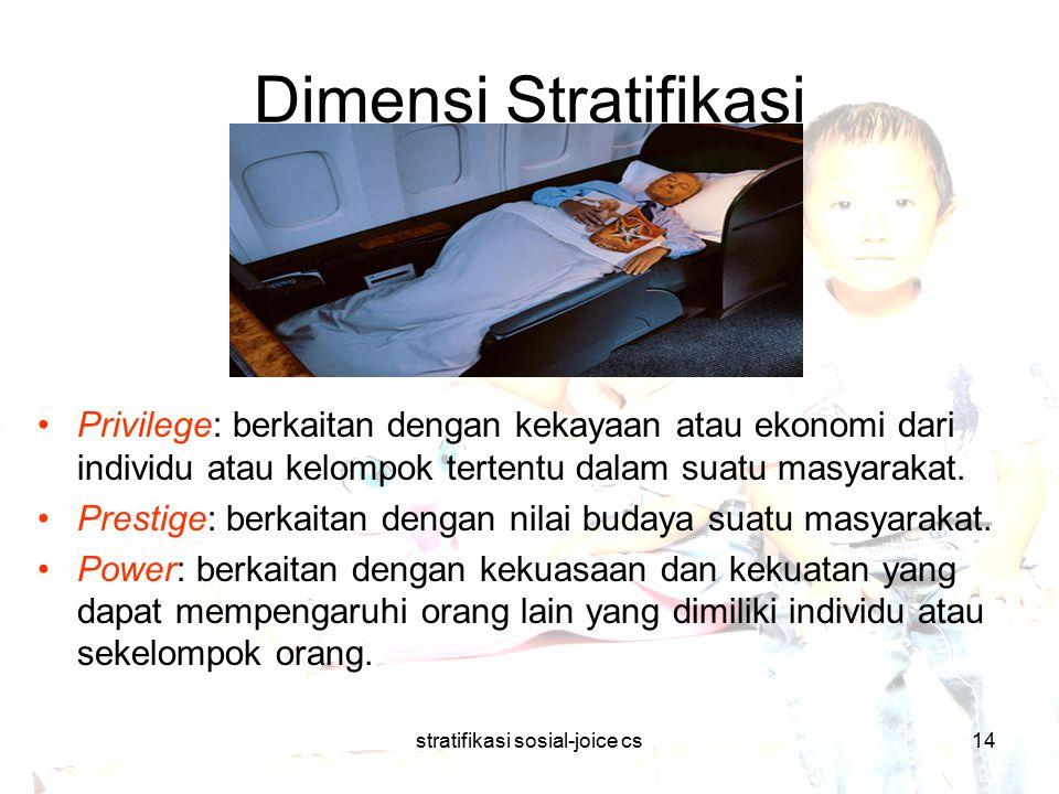 stratifikasi sosial-joice cs14 Dimensi Stratifikasi Privilege: berkaitan dengan kekayaan atau ekonomi dari individu atau kelompok tertentu dalam suatu