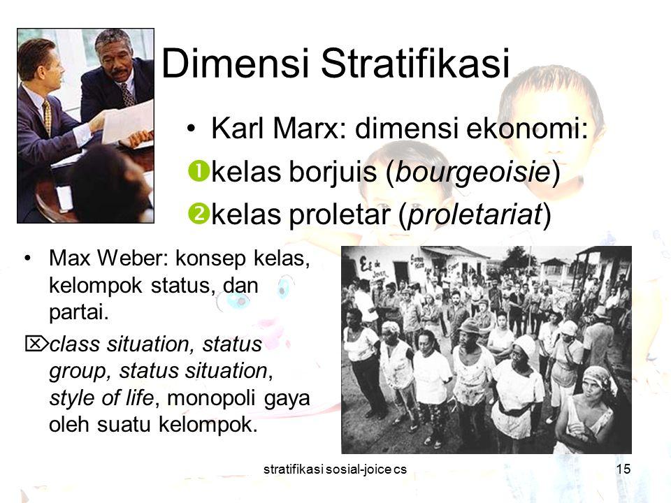 stratifikasi sosial-joice cs15 Dimensi Stratifikasi Max Weber: konsep kelas, kelompok status, dan partai.  class situation, status group, status situ