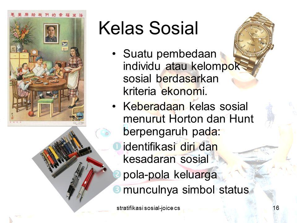 stratifikasi sosial-joice cs16 Kelas Sosial Suatu pembedaan individu atau kelompok sosial berdasarkan kriteria ekonomi. Keberadaan kelas sosial menuru