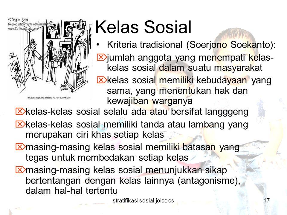 stratifikasi sosial-joice cs17 Kelas Sosial  kelas-kelas sosial selalu ada atau bersifat langggeng  kelas-kelas sosial memiliki tanda atau lambang y