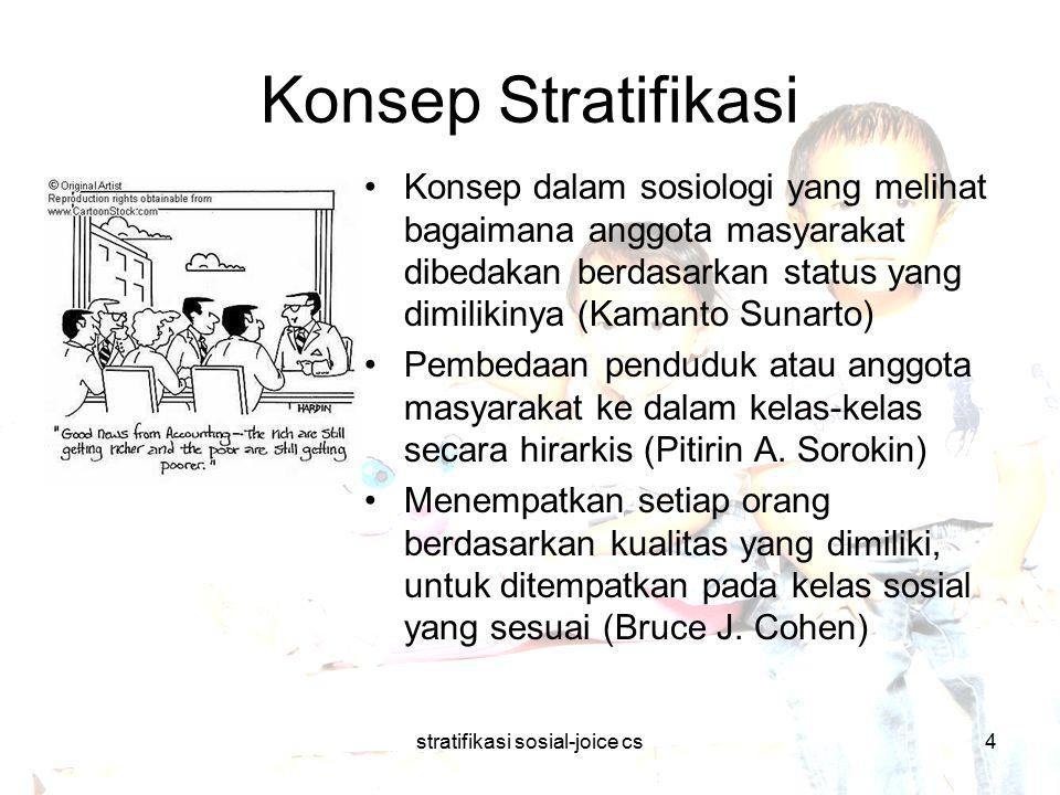 stratifikasi sosial-joice cs5 Konsep Stratifikasi Terbentuknya stratifikasi: (Soerjono Soekanto)  Terbentuk dengan sendirinya: kepandaian, usia, sistem kekerabatan, dan harta dalam batasan-batasan tertentu.